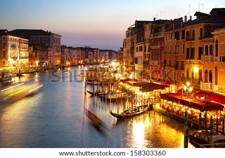 Grand canale in Venice. View from Rialto Bridge - stock photo