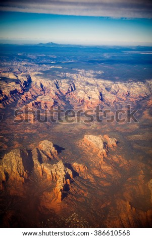 Grand Canyon aerial view. picturesque landscape of America - stock photo