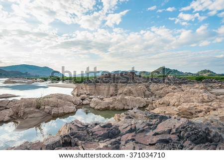 Grand Canyon, Amazing of rock in Mekong river  - stock photo