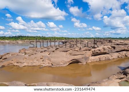 Grand Canyon amazing of rock in Mekong river, Ubonratchathani Thailand. - stock photo