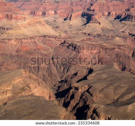 Grand Canyon as viewed from Mather point on the South Rim - stock photo
