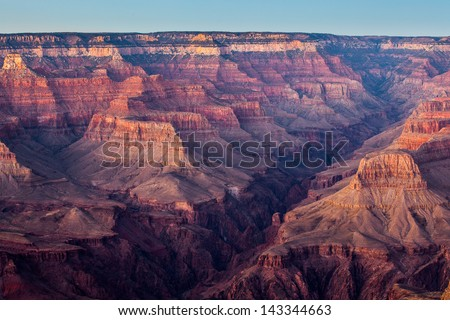 Grand Canyon at sunset, in Grand Canyon National Park, Arizona