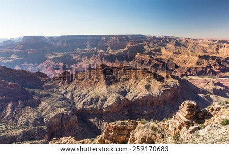 Grand Canyon desert landscape on a sunny afternoon in Grand Canyon National Park, Arizona