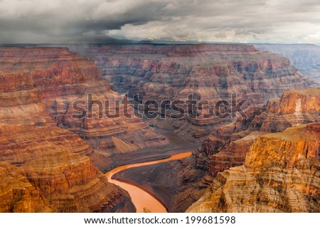 Grand Canyon Heli shooting flight into the colorado valley near las vegas - stock photo