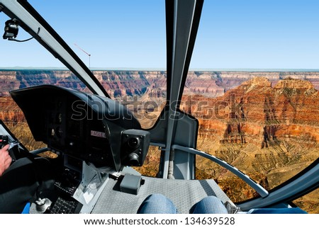 Grand Canyon - Helicopter flight - stock photo