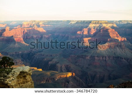 Grand Canyon landscape view after sunrise, USA