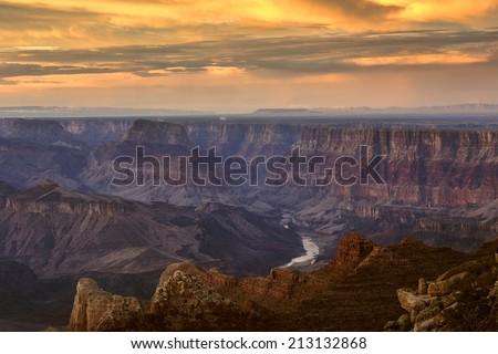 Grand Canyon Lipan Point at dusk. - stock photo