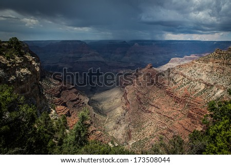 Grand Canyon lookout point from the south rim - stock photo
