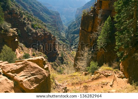 Grand Canyon National Park, Arizona/From Rim to Rim/ One of the Wonders of the World as viewed from north, south, east, west and interior in a large assortment of weather conditions. - stock photo