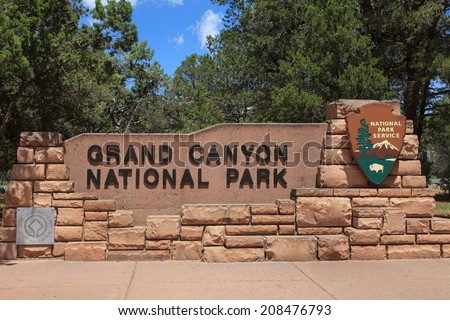 Grand Canyon National Park Entrance Sign Arizona