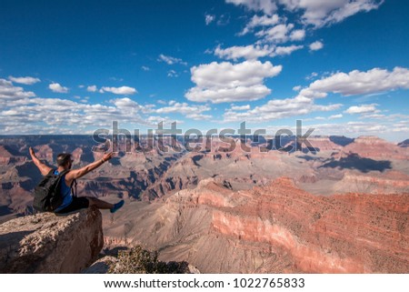 Grand Canyon National Park Horizon Blue Sky Clouds Sitting Man People