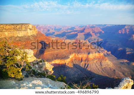Grand Canyon National Park overview at sunrise