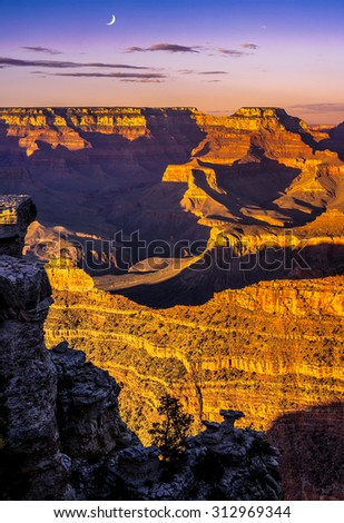 Grand Canyon National Park sunset and moon. - stock photo