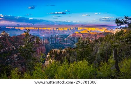 Grand Canyon North Rim Beautiful Sunset Sky - stock photo