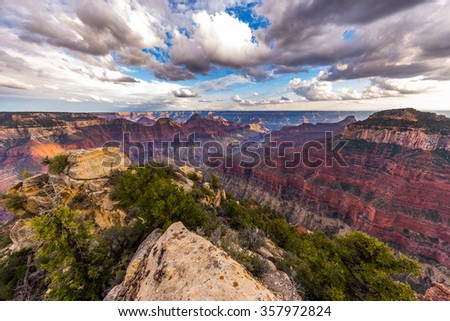 Grand Canyon, North Rim, Bright Angel Point Trail - stock photo