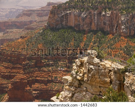Grand Canyon overlook at the North Rim (faces intentionally blurred)