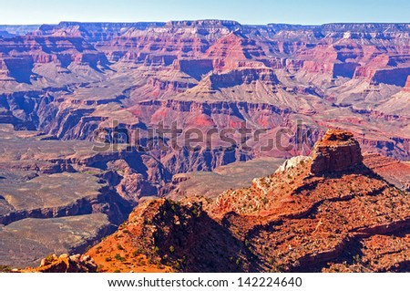 Grand Canyon Panorama along the South Kaibab Trail - stock photo