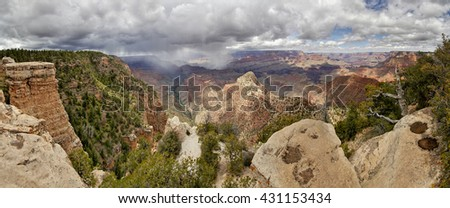 Grand Canyon panorama thunderstorm. Arizona, USA - stock photo