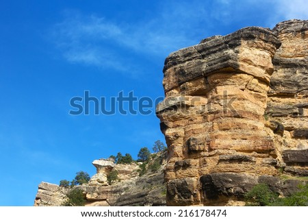 Grand Canyon Rock formation. Colossal Rock formation at sunset in Grand Canyon - stock photo