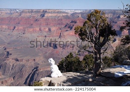 Grand Canyon Snowman and Winter - stock photo