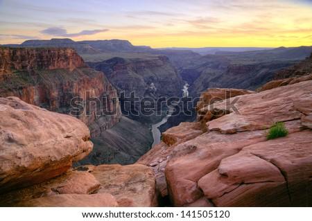 Grand Canyon - Toroweap Point after sunset - stock photo