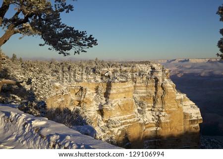Grand Canyon Vista in Winter - stock photo