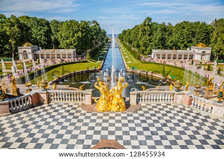 Grand Cascade  and sea canal in Peterhof, St Petersburg, Russia - stock photo