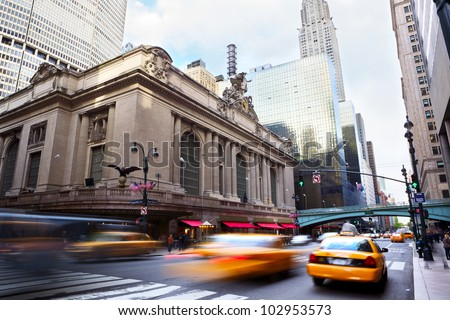 Grand Central along 42nd Street with traffic, New York City