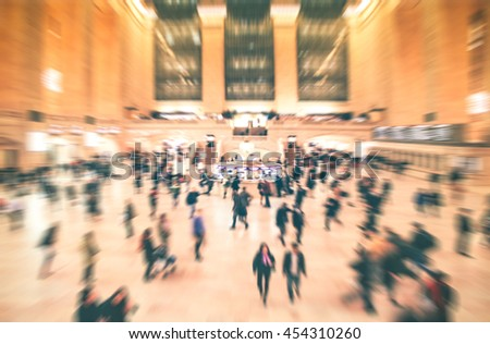 Grand Central , New York City at Main hall with Motion blurred background of a lot of people, New Yorker walking in rush hour morning. Background for your project design creative concept. - stock photo