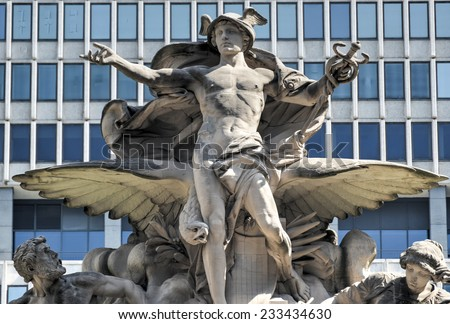 Grand Central Station in New York. The iconic beaux arts statue of the Greek God Mercury that adorns the south facade of Grand Central Terminal on East 42nd Street. - stock photo