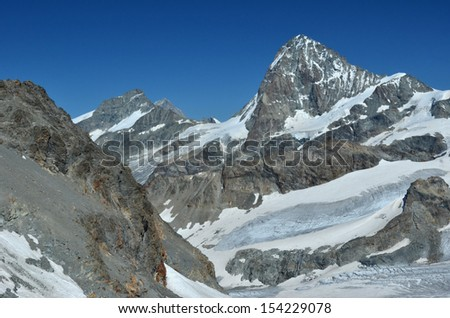 Grand Cornier (l) and the Dent Blanche (r) in the southern swiss alps near to Zermatt and Zinal