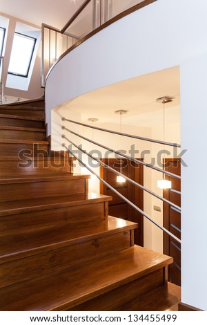 Grand design - Closeup of wooden elegant staircase