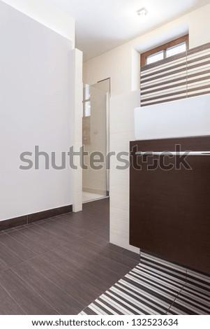 Grand design - Glass shower in a modern bathroom - stock photo