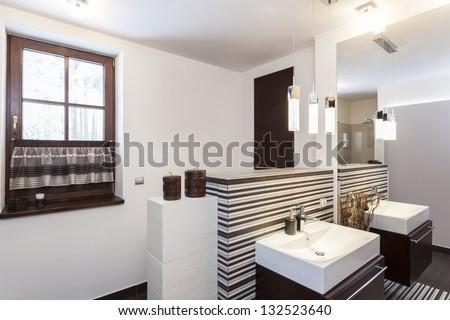 Grand design - Interior of a modern bathroom - stock photo