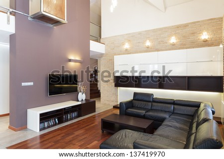Grand design - Living room in modern style - stock photo