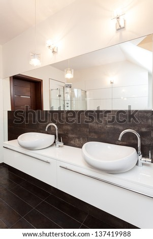 Grand design - two vessel sink in bathroom - stock photo