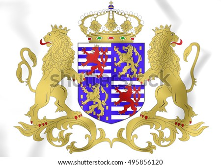 Grand Duke of Luxembourg Coat of Arms. 3D Illustration.