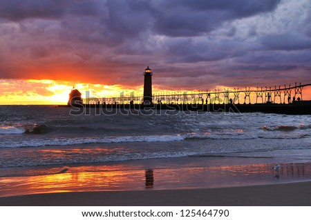 Grand Haven Lighthouse Grand Haven, Michigan - stock photo