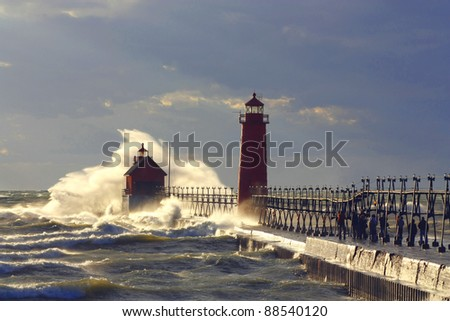 Grand Haven Lighthouse Storm - stock photo