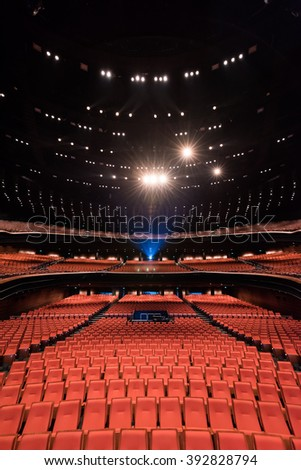 Grand interior of auditorium with luxurious seating. - stock photo