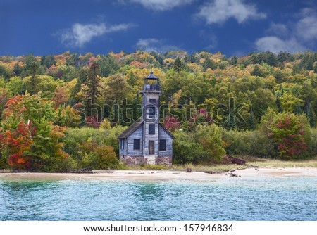 Grand Island East Channel Lighthouse on the way to Pictured Rocks - stock photo
