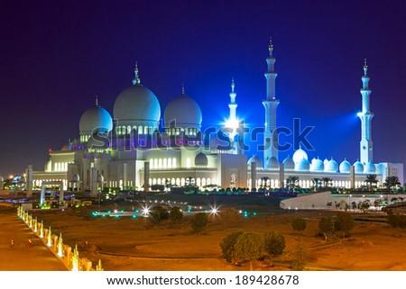 Grand Mosque in Abu Dhabi at night, United Arab Emirates - stock photo