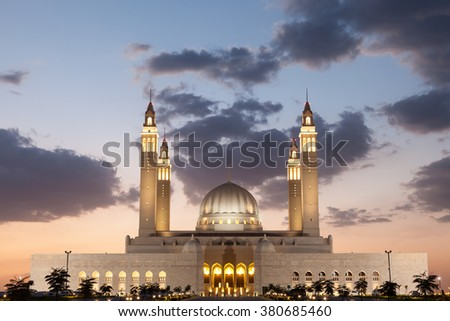 Grand mosque in Nizwa illuminated at night. Sultanate of Oman, Middle East