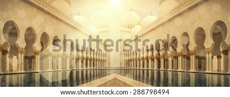 Grand Mosque of Sheikh Zayed in UAE. - stock photo