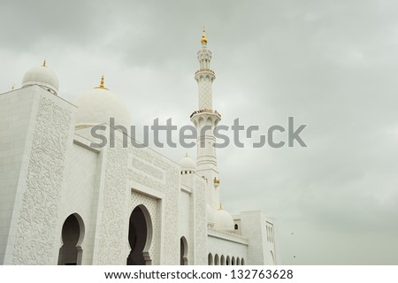 Grand Mosque with white marble in Abu Dhabi - stock photo