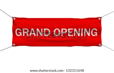 Grand Opening banner 3d illustration isolated - stock photo