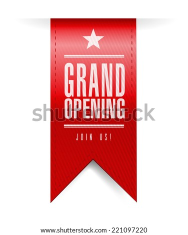 grand opening banner illustration design over a white background - stock photo
