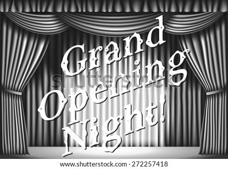 Grand opening night. stage with curtain. black and white retro illustration - stock photo