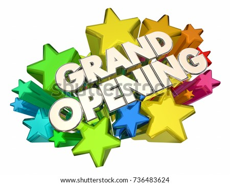 Grand Opening Stars New Open Date Advertising 3d Illustration