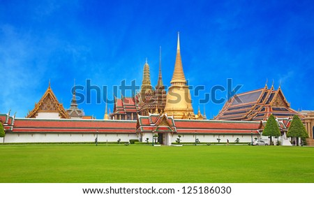 Grand Palace and Temple of Emerald Buddha complex in Bangkok, Thailand - stock photo